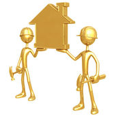 Construction Workers Holding Golden Home — Stock Photo