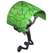 3D Character With Road Map — Stock Photo