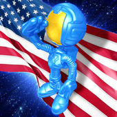 Mini Astronaut With Flag — Stock Photo