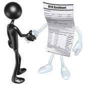 401K Form Handshake — Stock Photo