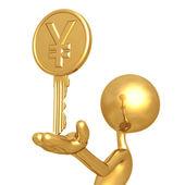 Gold Yen Coin Key — Stock Photo