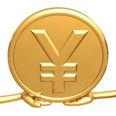 Holding Gold Yen Coin — Stock Photo