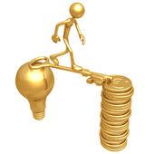 Golden Key Bridge Between An Idea And Coins — Stock Photo