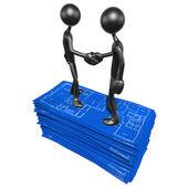 Hausbau-Blaupause-handshake — Stockfoto