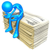 3D Character With Blank Checks — Stock Photo
