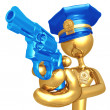 Golden Police Officer With Revolver - Stock Photo
