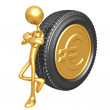 Gold Euro Coin Tire — Stock Photo