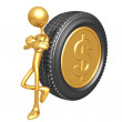Gold Dollar Coin Tire — Stock Photo
