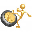 Stock Photo: Kicking Gold Euro Tire