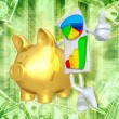 Business Report With Gold Piggy Bank — Stock Photo
