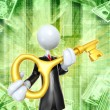 Businessman With Golden key — Stock Photo