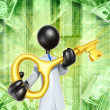 Businessman With Golden key — Stok fotoğraf