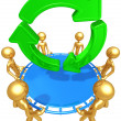 Stock Photo: Safety Net Catching Recycle Symbol