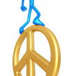 Balancing On Peace Symbol — Stock Photo