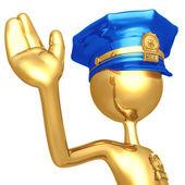 Golden Police Officer Stop Gesture — Stock Photo