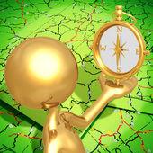 Zlatý kompas — Stock fotografie