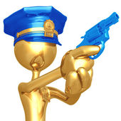 Golden Police Officer With Revolver — Stock Photo