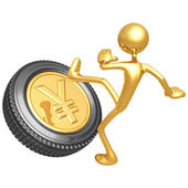Kicking The Gold Yen Tire — Zdjęcie stockowe