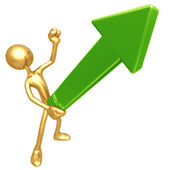Erect Upward Market Trend Arrow — Stock Photo