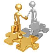 Puzzle Handshake — Stock Photo