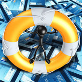 Life Preserver On Sea Of Credit Cards — Stock Photo
