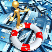 Gold Guy With Life Preserver On Sea Of Credit Cards — Stock Photo