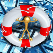 Gold Guy In Lifebuoy On Sea Of Credit Cards — Stock Photo