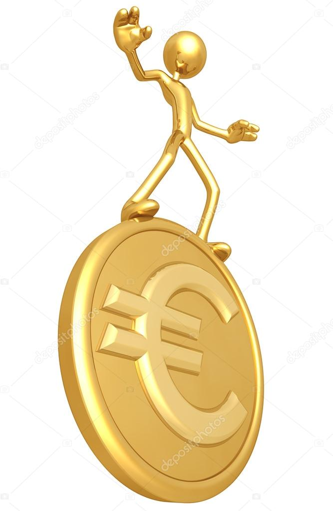 Balancing On Gold Euro Coin — Stock Photo #12369470