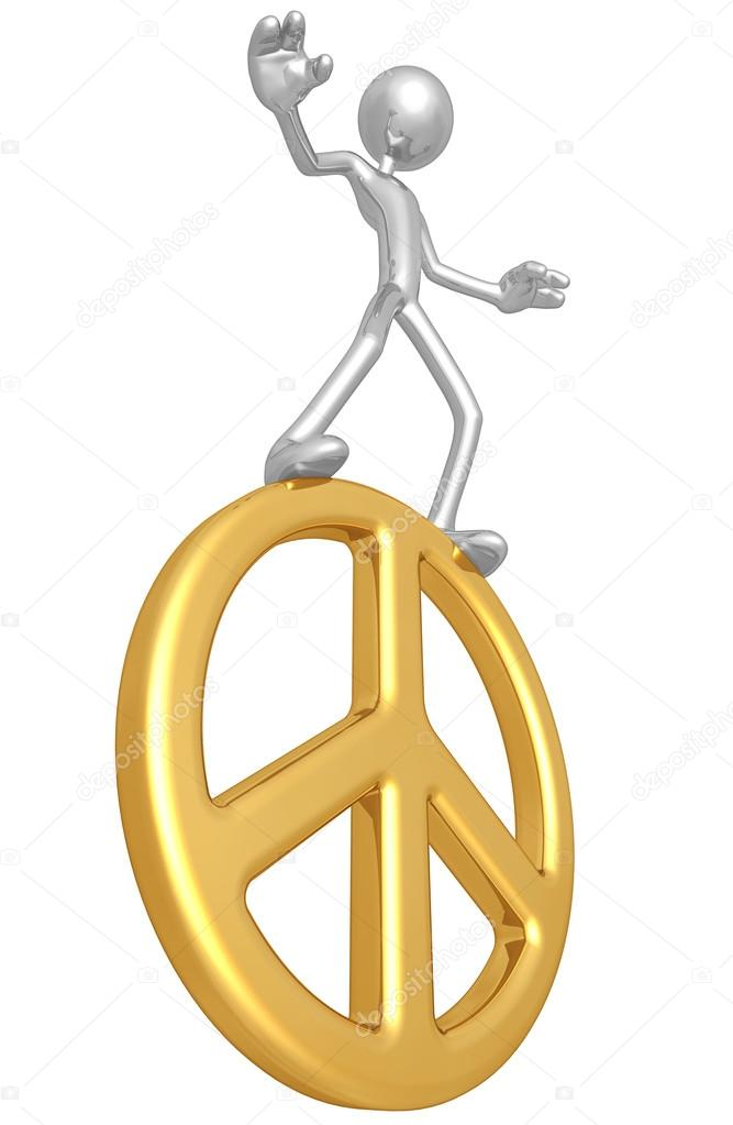 Balancing On Peace Symbol  Foto Stock #12369581