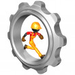 Construction Worker Running In Gear — Stock Photo