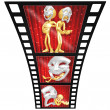 3D Gold Guy Thespian Film Strip - Stock Photo