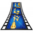 3D Gold Guy Thespian Film Strip — Stock Photo