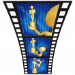 Royalty-Free Stock Photo: 3D Gold Guy Thespian Film Strip
