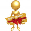 3D Character With Gift Card - Stock Photo