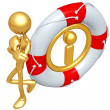 3D Character With Lifebuoy Information — Stock Photo