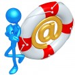 3D Character With Lifebuoy Email — Stock Photo