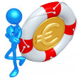 3D Character With Lifebuoy Euro Coin — Stock Photo #12370877