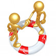 3D Characters Shaking Hands On A Lifebuoy — Stock Photo #12370926