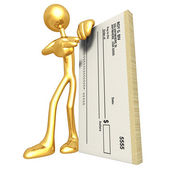 3D Character With Blank Check — Stock Photo