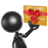 3D Character With Gift Card — Stock Photo