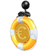 3D Character With Lifebuoy Euro Coin — Stock Photo