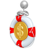 3D Character With Lifebuoy Dollar Coin — Stock Photo
