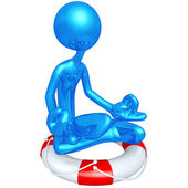 3D Character In Zen On A Lifebuoy — Stock Photo