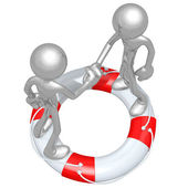 3D Characters Shaking Hands On A Lifebuoy — Stock Photo