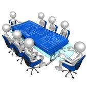 Domů stavební plány setkání — Stock fotografie