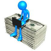 Online s penězi — Stock fotografie