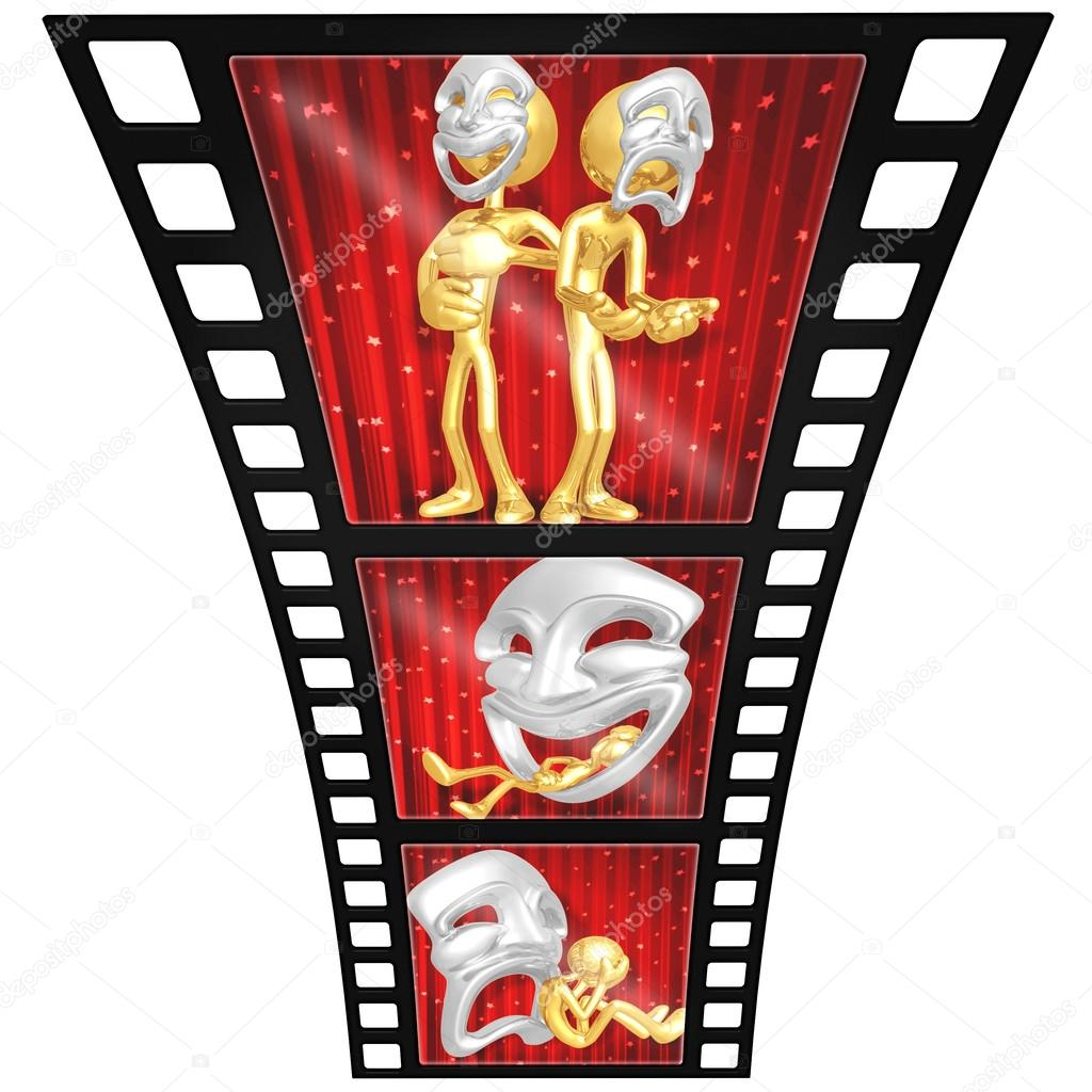 3D Gold Guy Thespian Film Strip — Stock Photo #12370648