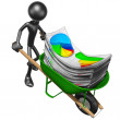 Wheelbarrow Full Of Business Reports — Stock Photo