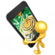 Gold Guy With Touch Screen Money - Stock Photo