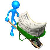 Wheelbarrow Full Of Blank Checks — Stock Photo